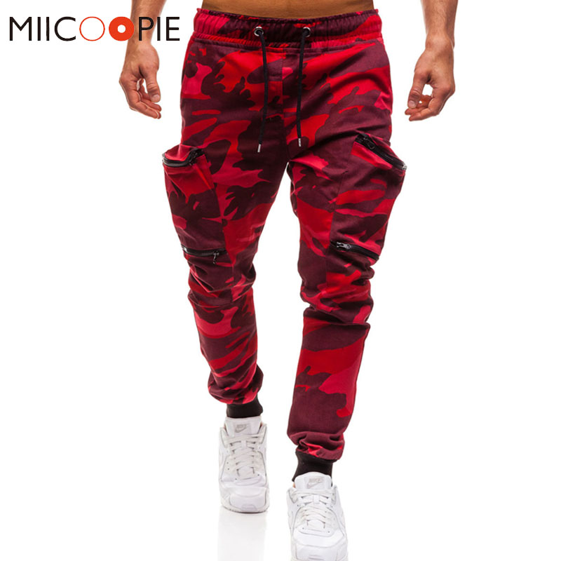Mens Joggers 2019 New Red Camouflage Multi-Pockets Cargo Pants Men Cotton Harem Pants Hip Hop Trousers Streetwear XXXL