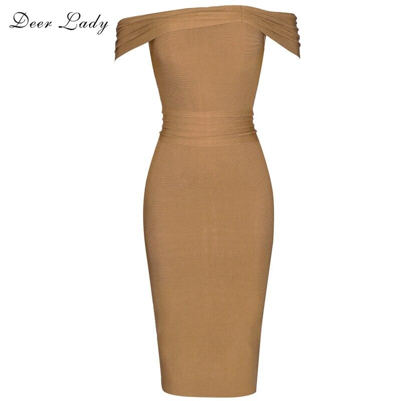Deer Lady Vestido Bandage 2019 Women Bandage Dress Rayon Brown Summer Off Shoulder Bandage Dress Bodycon