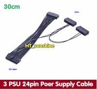 DHL/EMS Бесплатная доставка ATX 20 + 4PIN 24pin Питание начиная кабель тройной 3 PSU pci e Экспресс шнур для BTC Шахтер машина