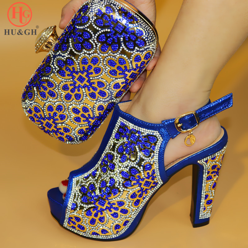 Blue Color African Shoes And Bag Matching Set With Crystal Hot Selling Women Italian Shoes And Bag Set For Wedding Dress Shoes african fashion shoes with matching bag set for wedding party italian design nigeria women pumps shoes and bags mm1060