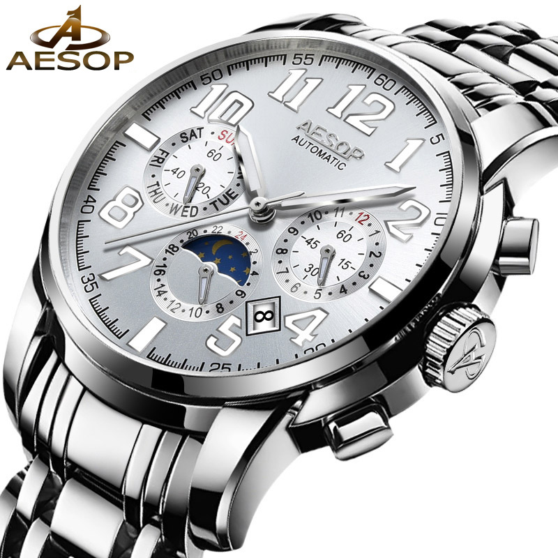 AESOP Brand Watch Men Automatic Mechanical Business Wristwatch Stainless Steel Silver Male Clock Relogio Masculino Hodinky 40 fashion top brand watch men automatic mechanical wristwatch stainless steel waterproof luminous male clock relogio masculino 46