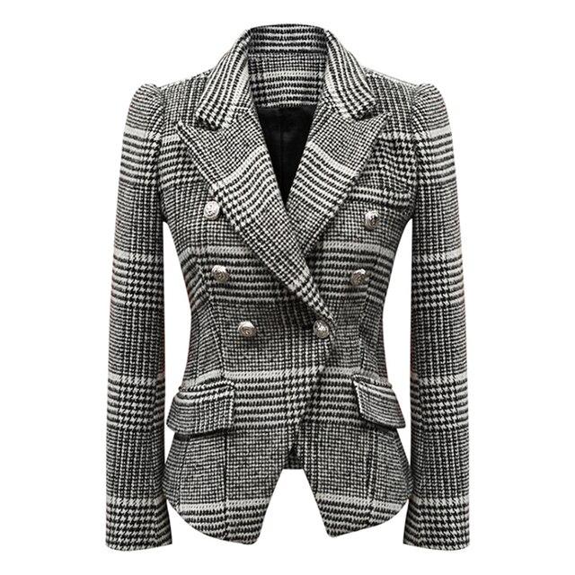 HIGH STREET New Fashion 2018 Designer Wool Blazer Women's Long Sleeve Double Breasted Lion Buttons Plaid Blazer Coat