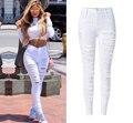 Estilo Hot Mulheres Cintura Alta Jeans Branco Calças Lápis Mulher Popular de Rua Personalidade Elegante Plus Size Holes Ripped Skinny Jeans