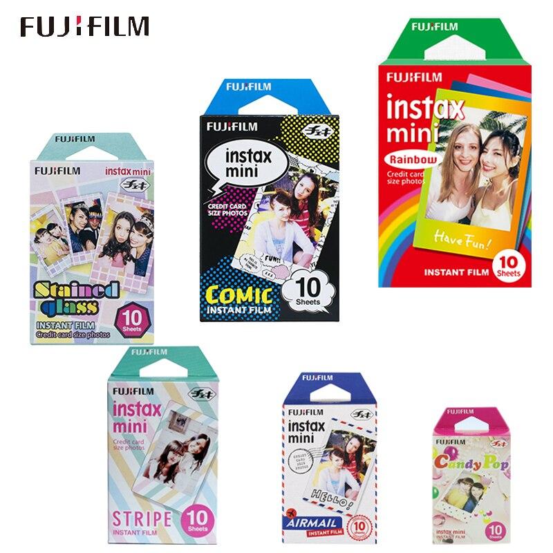 Película colorida genuína fujifilm instax mini para fuji instax mini 9 8 7s 7c 70 90 25 50 câmera instantânea, impressora móvel sp1 sp2 liplay