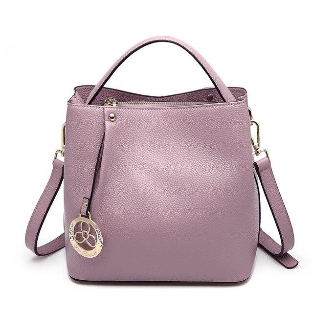 2018 Cowhide Genuine Leather Designer Inspired Handbags Woman Bucket Shoulder Bag Small Basket Female Crossbody Bags For Women