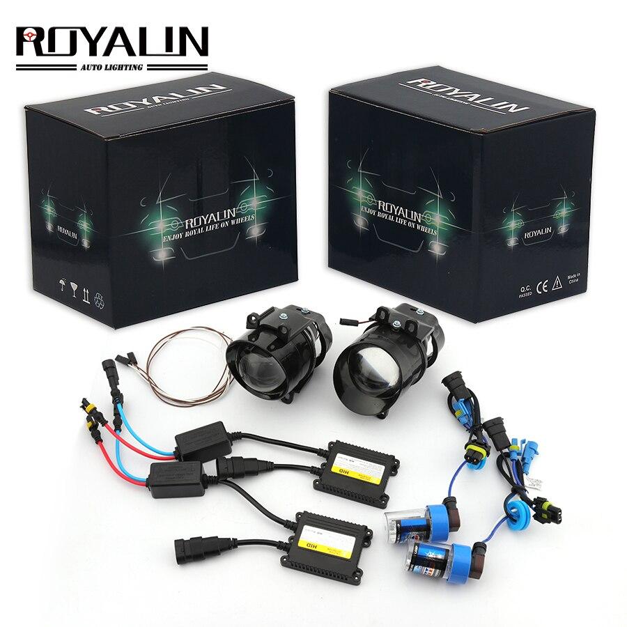 ROYALIN pour Camry antibrouillard Kit d'objectif voiture Bi xénon H11 lampe projecteur Ballast d'allumage pour Toyota Corolla Peugeot citroën Prius