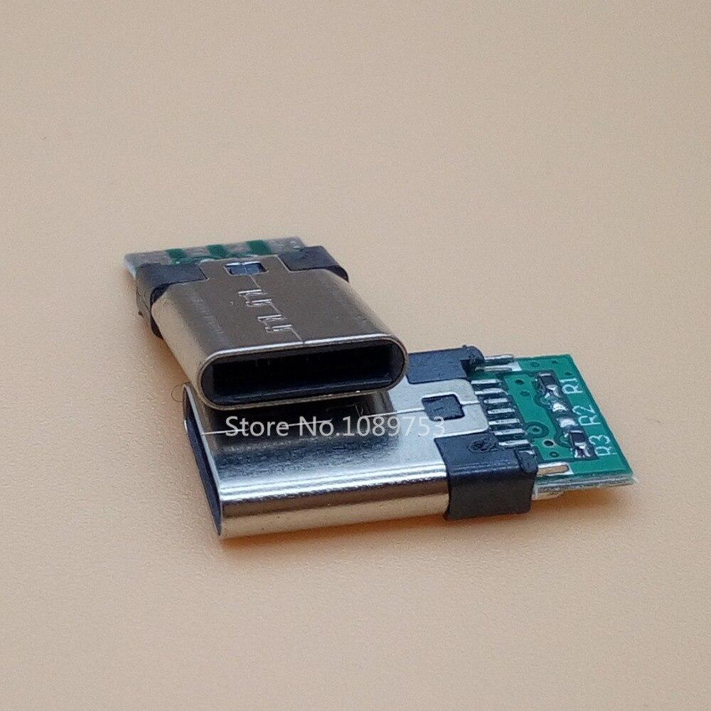 5Pcs 8-Pins USB 3.1 Socket Connector Type C/ Type-C USB-C male Plug with PC Board 10pcs lot usb 2 0 4pin a type male plug