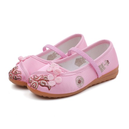 kids shoes embroidery floral cotton princess spring and autumn Chinese style baby girls dance performance shoes zapatos nina