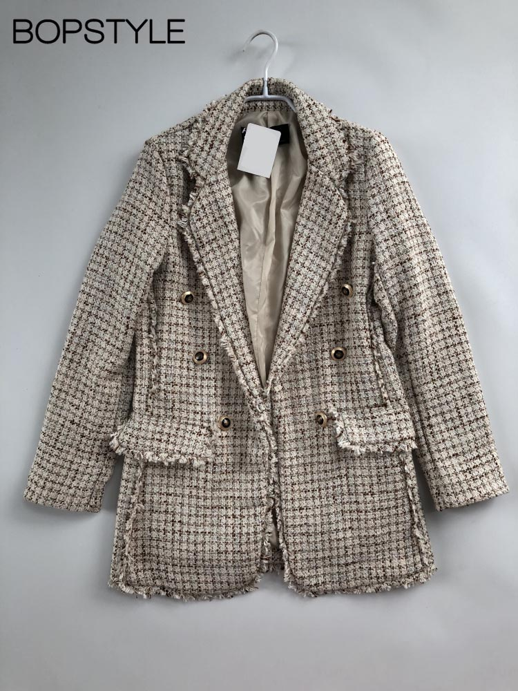 Autumn Winter 2018 New Women Female Notched Beige Check Worsted Tweed Long Jacket With Tassel Frayed