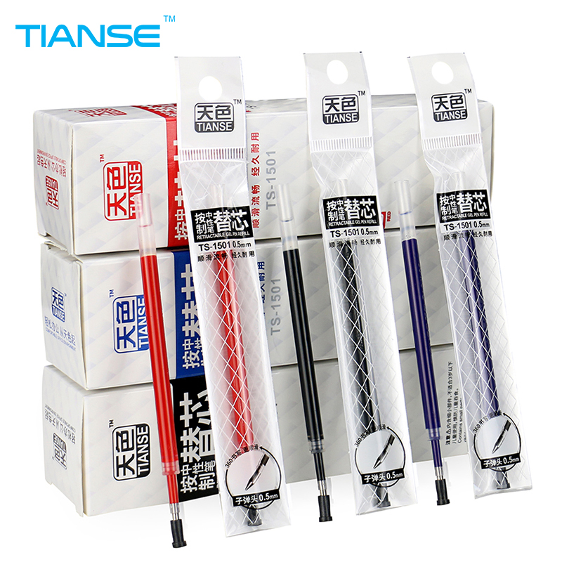 TIANSE 20pcs click and go style Gel Pen Refill 0.5mm neutral ink student writing pen black blue red color office stationery neutral pen blue fruit faint small floral creative chopsticks thin rod diamond signing pen writing word black 0 38mm 10 pcs set