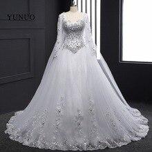 White Lace Bridal Gowns 2016 Lace Up Back ChapelTrain Long Sleeves Weddding Dresses Crystal Vestidos de novia Custom Real x12151