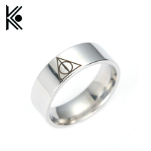 hogwarts Rings The deathly hallows titanium ring for men and women rings gifts Stainless steel jewelry 7-13