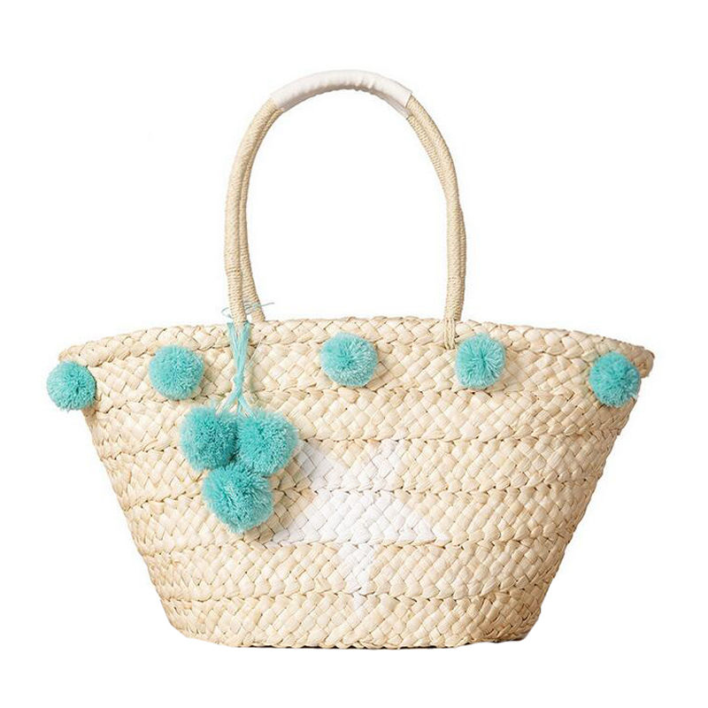 Bohemian Straw Bag Summer Beach Handbag Women Star Shopping Tote Ful Ball Handma