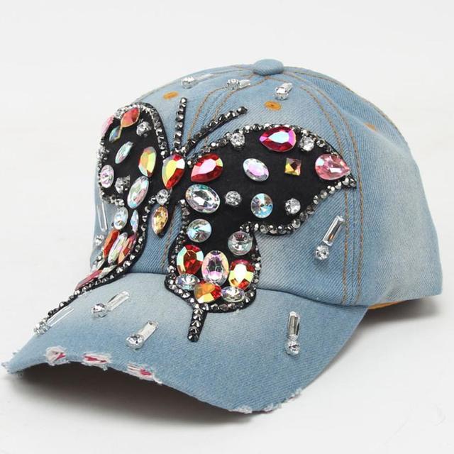 Hermosas mujeres vaquero gorra de béisbol completo cristal colorido brillo  grande mariposa Denim sombrero Bling Rhinestone cad61416302