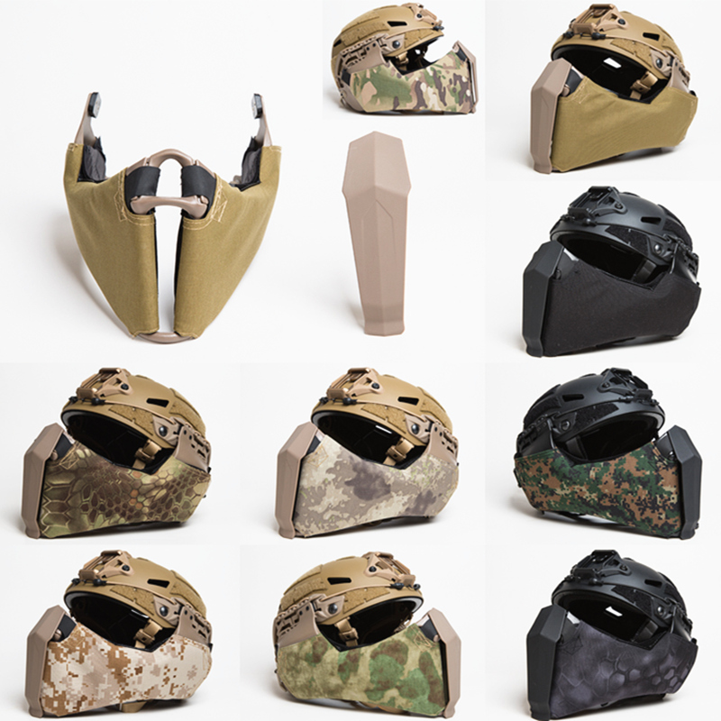 Mandible Tactical Guide Rail Connection Half Face Mask for OC Highcut Helmet