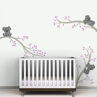Koala And Tree Branches Wall Stickers Oversize Removable Wall Decal Decor Living Room Baby Kids Room