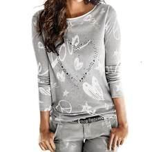 a32fda6ee9f Женские Модные блузка со стразами Одежда с длинным рукавом с надписью  «Love» с круглым