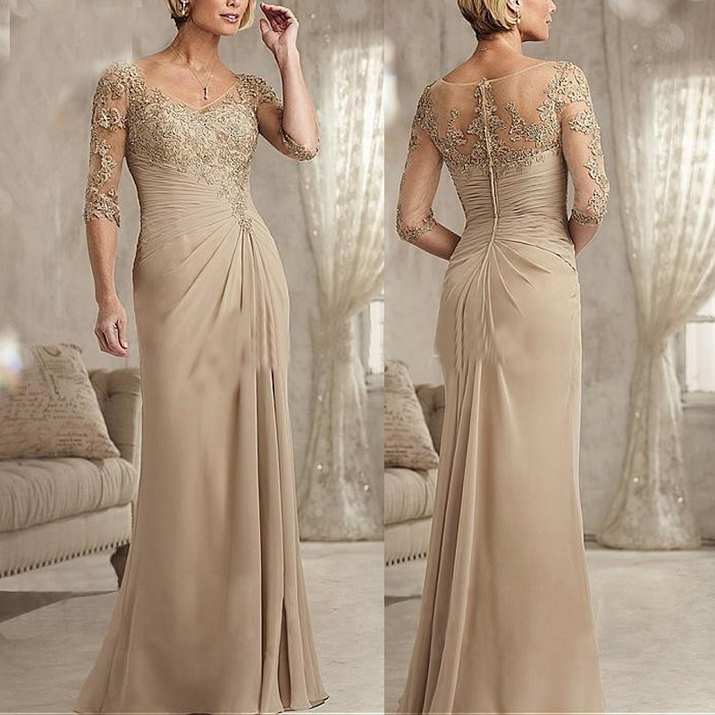 Elegant V Neck 1/2 Sleeves Pleated Chiffon Lace Long Dresses Evening Party Champagne Mother Of The Bride Dresses 2019