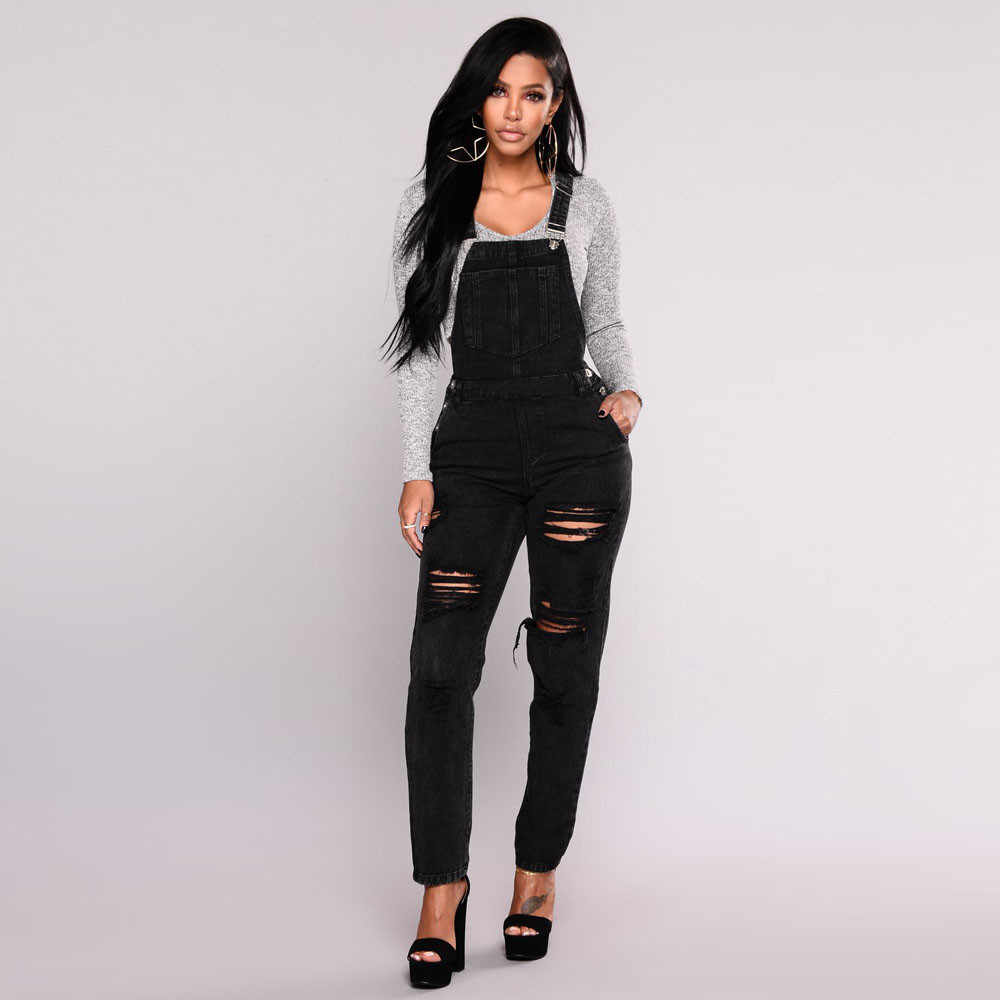 Womail боди Для женщин; сезон лето; Модные Изящные джинсы из хлопчатобумажной ткани штаны рваные Повседневное комбинезоны комбинезон брюки Прямая поставка M5