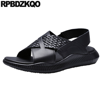 Shoes Strap Black Designer Open Toe Native Genuine Leather Men Sandals Summer Water Beach High Quality Outdoor Woven Slip On