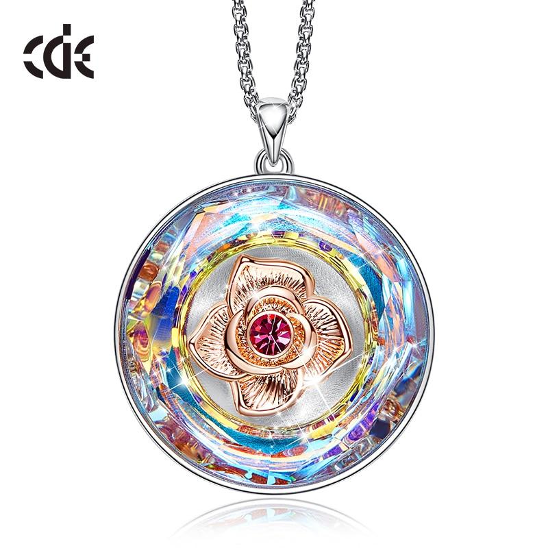 CDE Women Gold Necklace Embellished with crystals 18K Rose Gold  Dancing Rose Flower Pendant Mothers Day GiftNecklaces