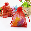 "17x23cm (6.69""x9.05"")100pcs Red Organza Bags Jewelry Storage Bags Organza Cosmetic Wedding Gift Bags Drawstring Pouches"