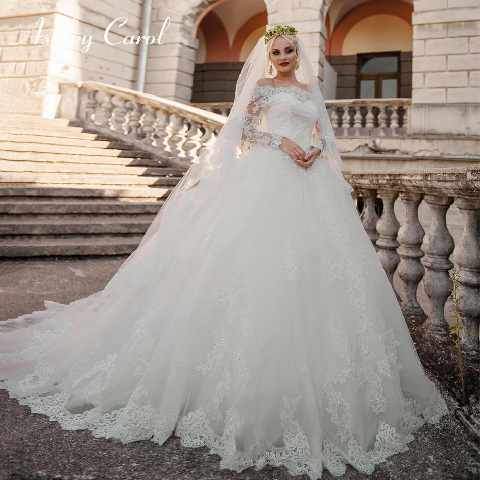 Ashley Carol Elegant Boat Neck Long Sleeve Princess Ball Gown Wedding Dress 2019 Vintage Luxury Wedding Gowns Vestido De Noiva