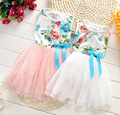 2015 summer New fashion kids baby girls chiffon flowers Vest Dress princess dresses kids summer floral clothes girls