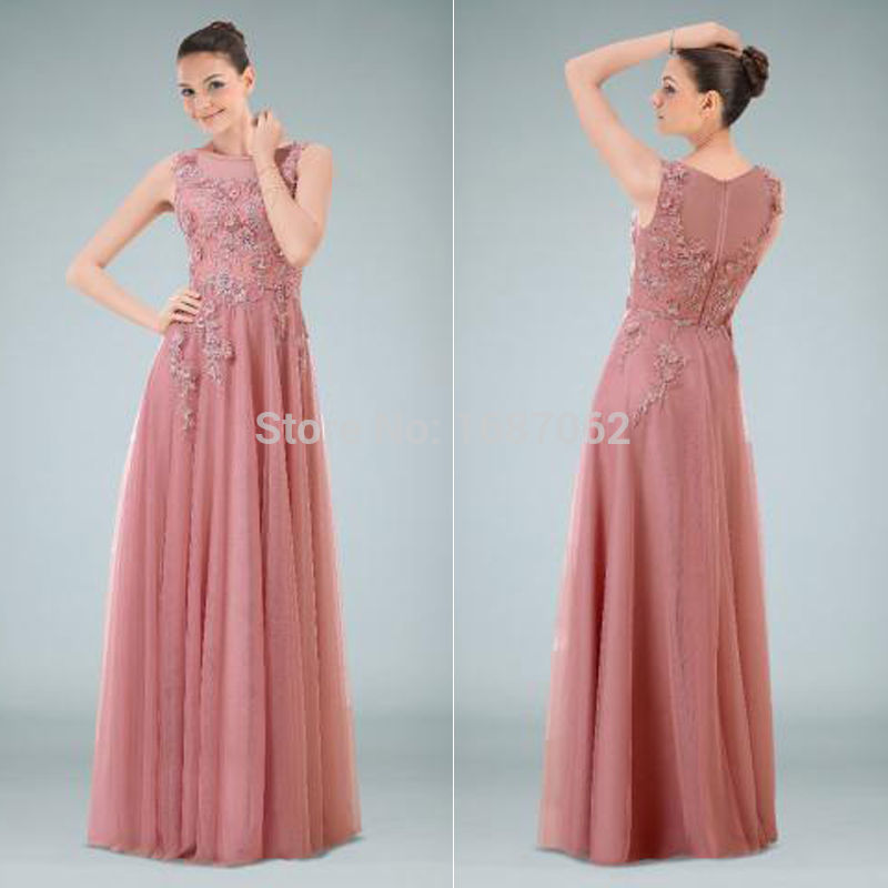 Bateau Neck Lace Applique Special Evening Formal Dresses Vintage Gowns Dusty Rose Tulle High Neckline Georges Dress For Wedding In From