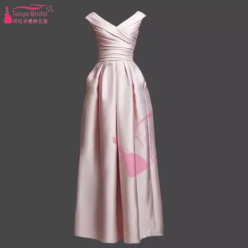 Real photo Pink /Green A Line satin   Bridesmaid     Dresses   Pleat Elegant Wedding Guest   Dress   Vestido De Festa custom-made Z1096