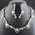 Joyería cristalina de la boda establece africana beads choker collar pendientes pulsera conjuntos de accesorios de la boda venta caliente