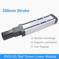 RXS-100 200 mm Ball Screw Linear Module Guide Rail Slide Actuator CNC Stage Travel Guide for Motion System