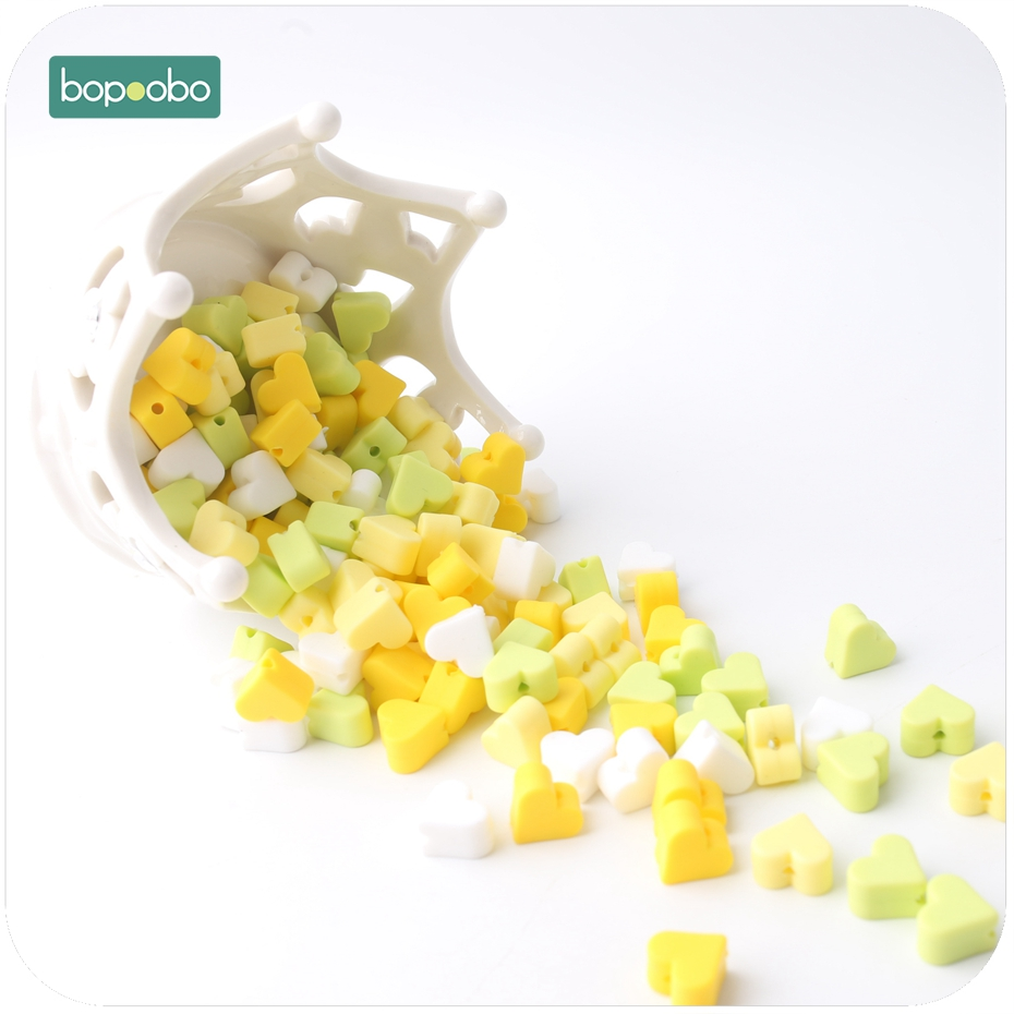 Bopoobo Silicone Teether Colorful 30pcs Beads Pineapple Color Set Mini Heart Bead Cute Beads BPA Free DIY Bracelet Baby Teether