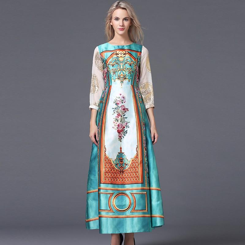 Royale De Automne Robes Manches Robe 4 Empire Xxl Cour Print Imprimé Floral Hiver Jc243 Vintage Luxe 2018 Longues 3 Femmes Marque Piste 4wC5EqTx
