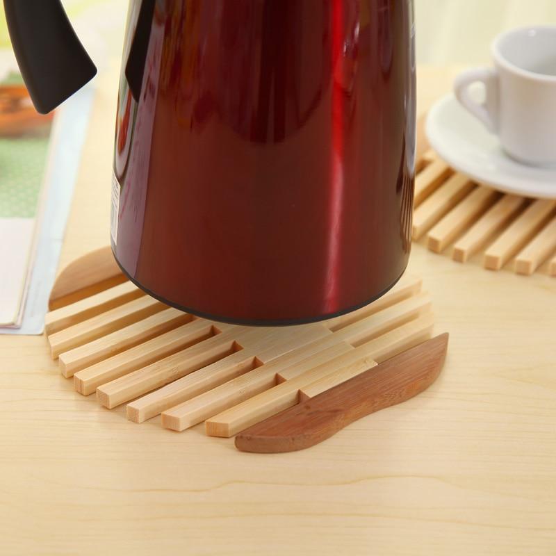Mat Q requintado tigela de bambu cozinha titular coasters copo pad Da Apple tipo de peixe isolado contra o calor bule de chá mat