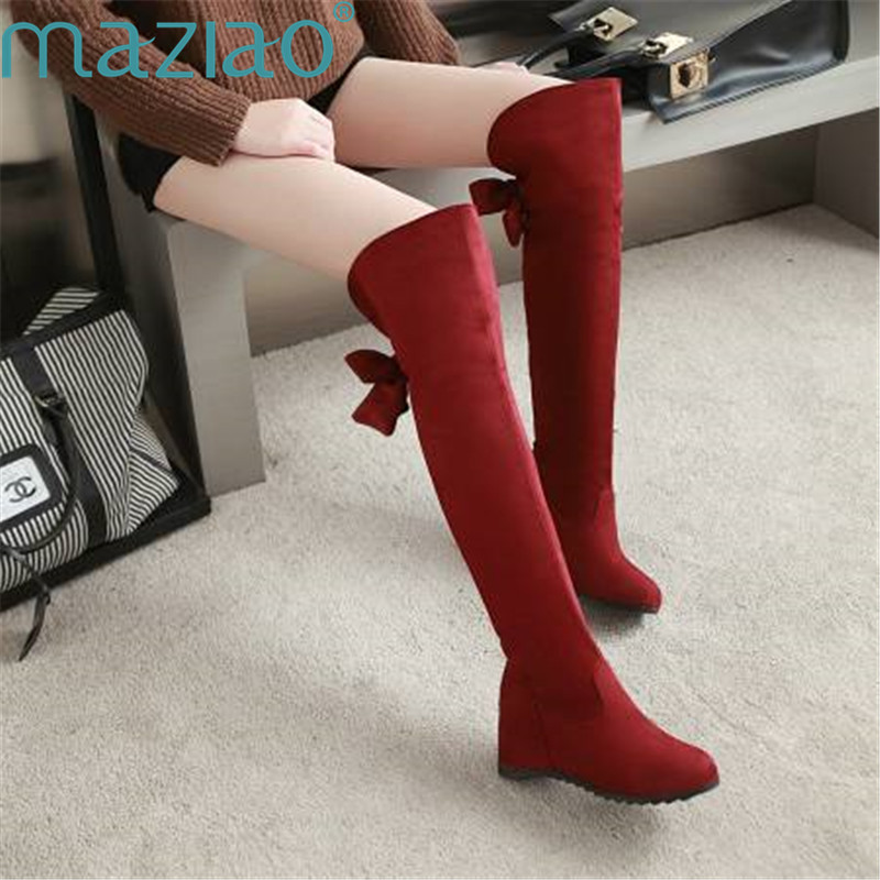 Chaussures Arc Bottes gris Noir Femmes Décoration Tête Maziao Courte rouge Intérieure Surélévation Genou Sexy Gris Sur Peluche Ronde Le Ty6rWcfTH