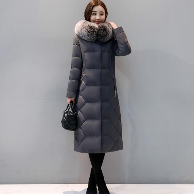 90% White Duck   Down     Coat   Women Winter   Down   Jacke 2018 Hooded Long Thicken Outerwear Slim Big Fox Fur Collar Warm   Down     Coat