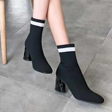Большие размеры 9, 10, 11, 12, цветные эластичные сапоги на высоком квадратном каблуке с толстым каблуком