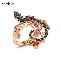 Yhpup Exquisite Phoenix Flower Statement Women Bijoux Rings Crystal Bird AAA Cubic Zirconia Exaggerated Jewelry Ring