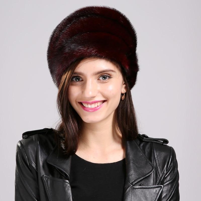 Women Fur Hat Fashion Style Fur Mink Hat Popular Color Modern Female Fur Hat Winter Warm   Skullies     Beanies   For Girl EA4050-18