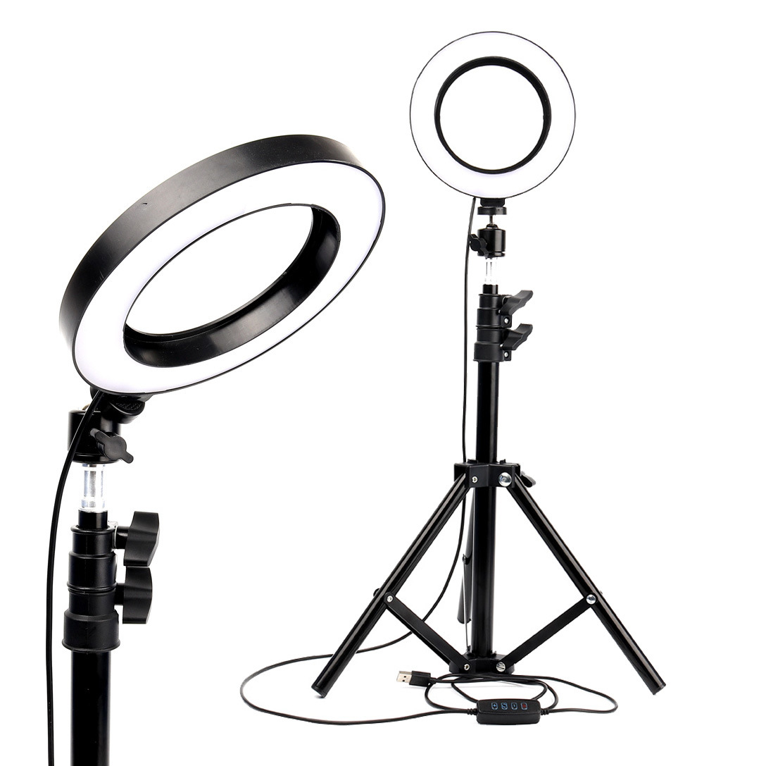Karrong 6 Inch Led Ring Light With Stretchable Tripod Stand Selfie Stick Dimmable Table Circular Light For Selfie Makeup Youtube