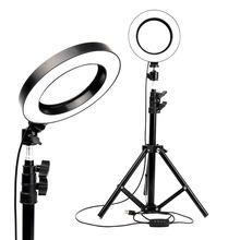 KARRONG 6 Inch LED Ring Light with Stretchable Tripod Stand Selfie Stick Dimmable Table Circular for Makeup Youtube