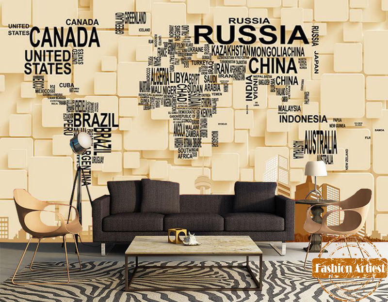 Custom 3d letter wallpaper mural country world map n modern mansion custom 3d letter wallpaper mural country world map n modern mansion on cube tv sofa bedroom living room cafe bar background in wallpapers from home gumiabroncs Choice Image