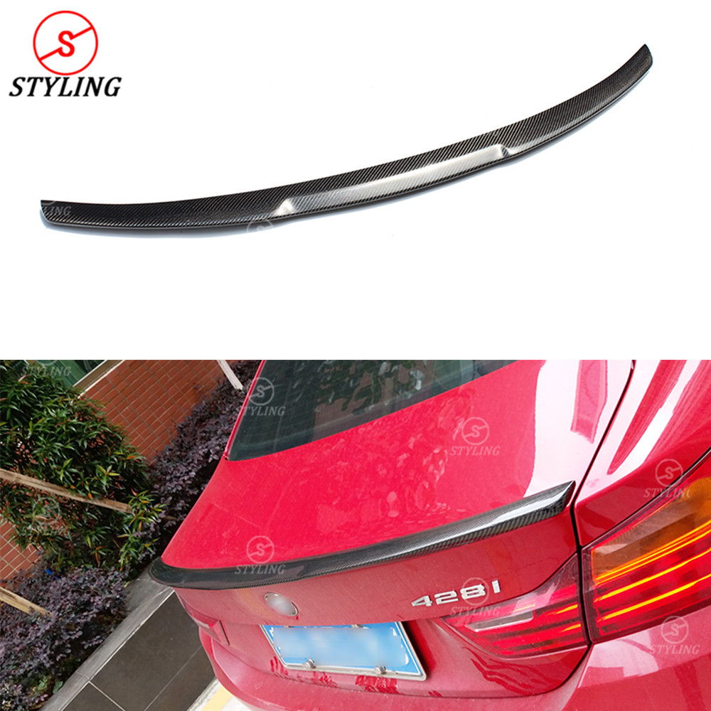 For BMW F32 Carbon Fiber Spoiler M4 Style 4 Series F32 420I 428I 435I Carbon Fiber Rear trunk wing rear spoiler Coupe 2014 - UP montford carbon fiber exterior rear