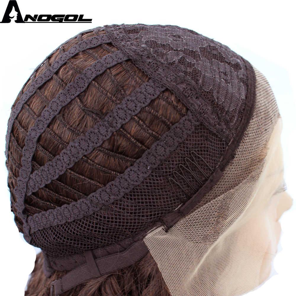 Anogol высокое температура волокно Glueless странный вьющиеся руки связали Оберн медь красный синтетический синтетические волосы на кружеве парик