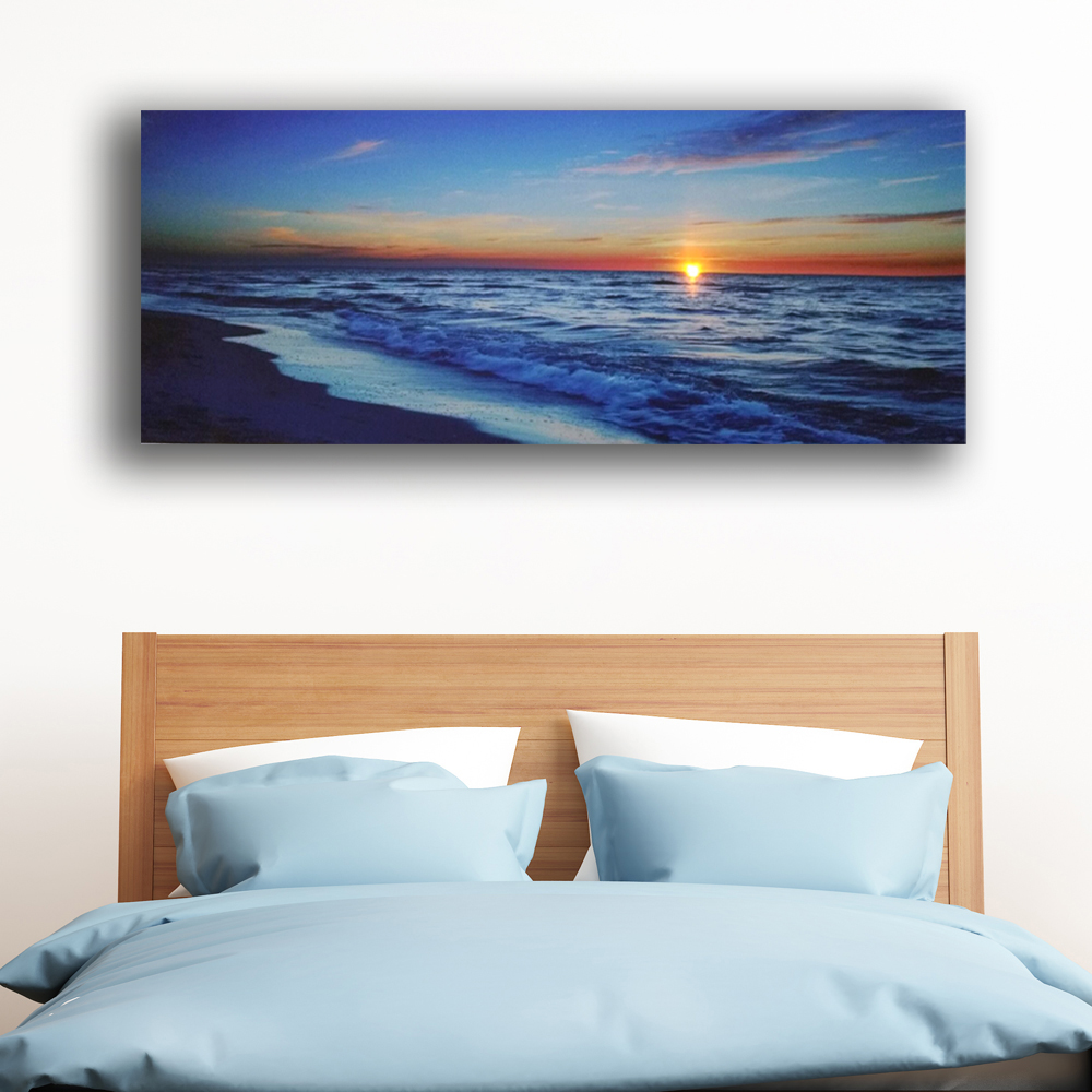 Modern Led wall picture sea wave with sunset beach ...