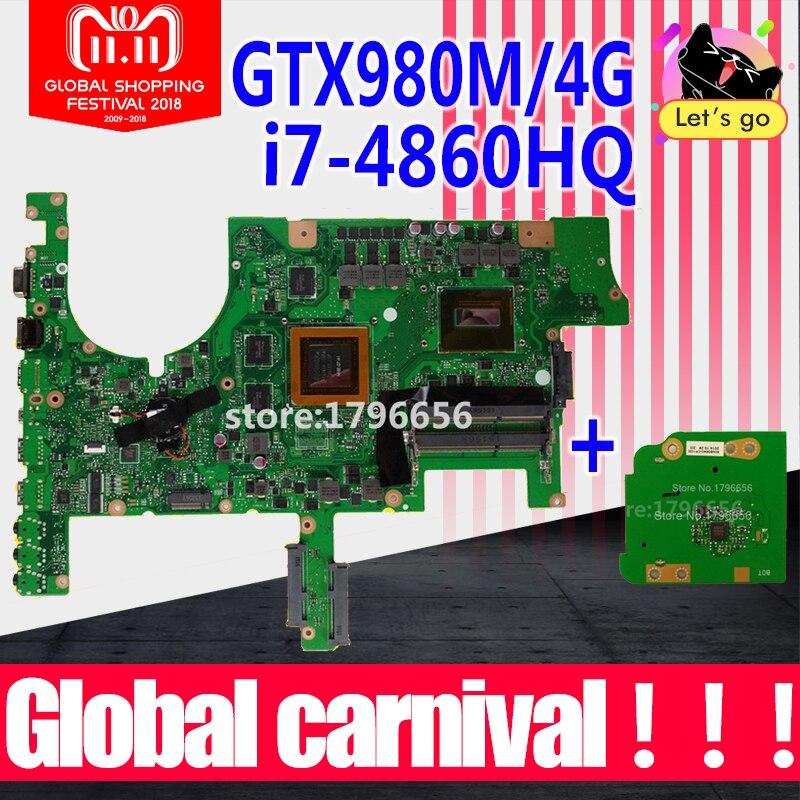 Envoyer conseil + G751JT Carte Mère GTX980/I7-4860HQ Pour ASUS G751 G751J G751JT Mère d'ordinateur portable G751JT Carte Mère G751JY Carte Mère