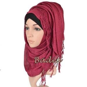 Image 3 - one piece shimmer solid plain glitter hijab scarf shinny metallic long tassel muslim viscose lurex shawl islamic head wraps