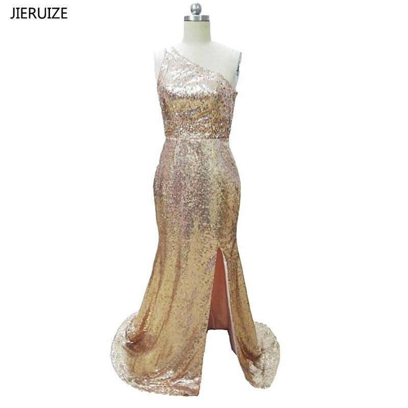 Feestjurken Galajurken.Jieruize Rose Gold Sequin Kristallen Lange Prom Jurken Hoge Kant