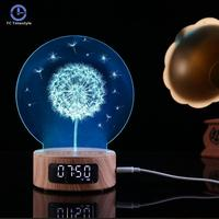 New Bluetooth Alarm Clock Projection Audio Galaxy 3d Night Light Colorful Digital Table Wooden Clock Gadgets Electronic